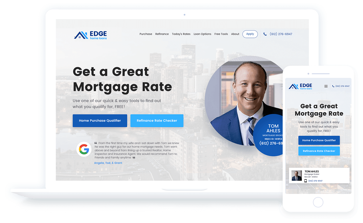 Mortgage LO Website for Broker Fuel by leadPops